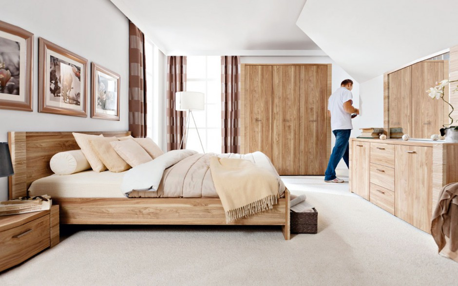 Sypialnia Raflo to meble modułowe inspirowane fakturą surowego drewna. Fot. Black Red White.