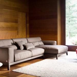 Beżowa sofa znakomicie pasuje do wnętrz wykończonych drewnem. Fot. Busnelli.