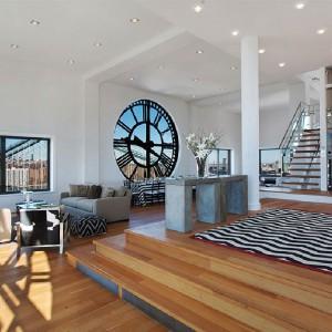 Drewno i szkło to główne materiały zastosowane w aranżacji wnętrza. Fot. Corcoran.com.