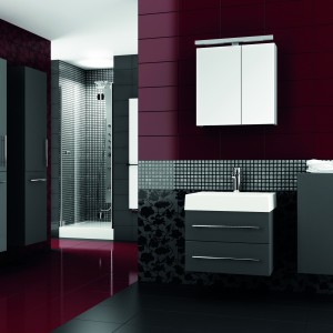 Kolekcja mebli łazienkowych Amsterdam dostępna w kolorach biały, legno ciemne, czarny, bordo, fiolet i antracyt. Na zdjęciu w kolorze antracyt. Aquaform.