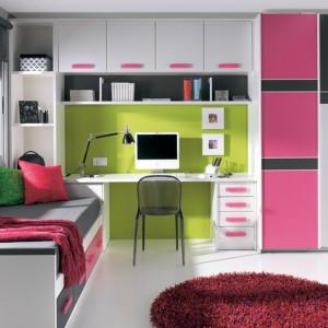 Zielony kolor ściany, przy której ustawiono biurko, sprzyja koncentracji i nie męczy wzroku. Fot. Circulo Muebles.