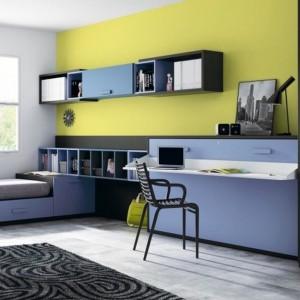 Pomysłowe zestawienie trzech kolorów: niebieskiego, szarego i oliwkowego. Fot. Muebles Lara.