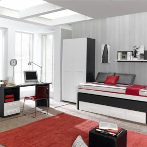 Czerwone detale sprawiają, że pokój wygląda oryginalnie. Fot. Muebles Lara.