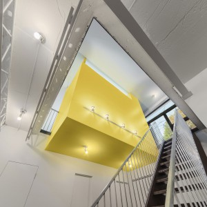 Kolor żółty doskonale pasuje do szarości i bieli zastosowanych we wnętrzu. Projekt: Paul duBellet Kariouk, Kariouk Associates. Fot. Kariouk Associates.