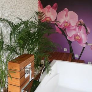 Białe otoczaki na ścianie oraz żywa zieleń to elementy stylu spa, które zapewniają wnętrzu naturalny charakter i akcentują relaksacyjną funkcję pomieszczenia. Fot. Bartosz Jarosz