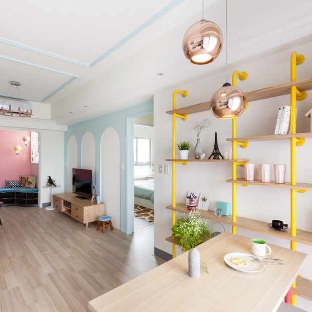 Kolorowe mieszkanie - kobiece wnętrze na Tajwanie