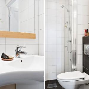 Niewielka łazienka mieści wszystko, co potrzebne do komfortowego funkcjonowania. Kabina bez brodzika i ze szklaną obudową nie zabierają wizualnie dużej ilości miejsca. Fot. Alvhem Makleri.