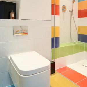 Achromatyczne barwy oraz  efektowne  formy ceramiki wstrefie sanitarnej  akcentują nowoczesny styl  i efektownie prezentują się na tle kolorowych okładzin. Fot. Bartosz Jarosz.
