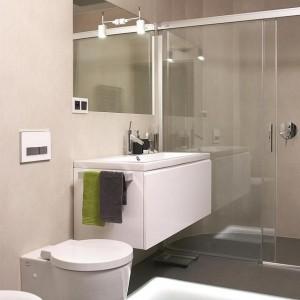 Duża kabina prysznicowa została oszklona, nie burząc wizualnego porządku przestrzeni, nadając jej lekkiego charakteru. Fot. Łukasz Kozyra.