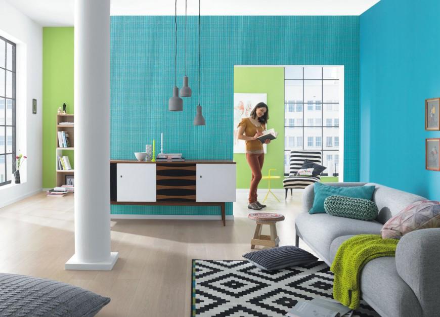 Efekt turkusowej ściany można osiągnąć wykorzystując tapetę z serii Funky Flair niemieckiej marki Rash. Fot. Rash.