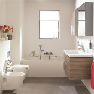 Connect Space z oferty Ideal Standard  to seria kompletnego wyposażenia łazienkę, zwłaszcza małych. Modele mebli oraz ceramiki (w wersji podwieszanej)  są dopasowane wymiarowo do małych wnętrz. Fot. Ideal Standard.