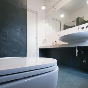 Długi blat i duże lustro sprawiają, że łazienka staje się bardzo funkcjonalna. Fot. Archifacturing.