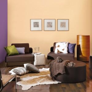 Fiolety, morele oraz ożywcze pomarańcze tworzą ciepła, jesienną aranżację salonu. Fot. Śnieżka.