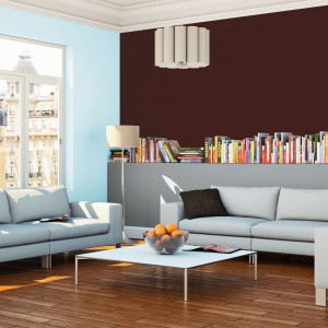 W urządzony w minimalistycznym stylu salonie ciemny czekoladowy brąz stanowi ciepły akcent dekoracyjny. Doskonale też komponuje się z szarościami i chłodnym błękitem. Fot. Beckers.