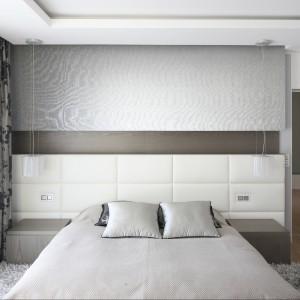 Wzorzysta, połyskująca zasłona stanowi ciekawą dekorację sypialni  utrzymanej w stonowanych odcieniach. Projekt: Agnieszka Hajdas-Obajtek. Fot. Bartosz Jarosz.