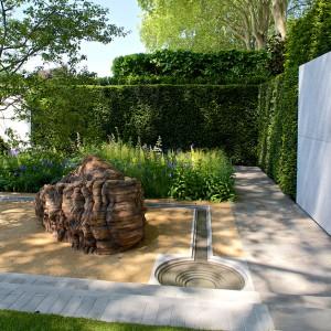 Prosty układ geometryczny wprowadza harmonię. Proj. Luciano Giubbilei. Fot. RHS Chelsea Flower Show.