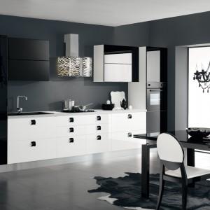 Okap Mirabilia Zebra z czarno-białym motywem zwierzęcym stanowi oryginalny akcent dekoracyjny w czarno-białej kuchni, nadający wnętrzu drapieżnej elegancji. Fot. Falmec.
