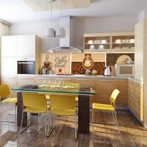 Ciepła kuchnia w kolorach kawy z mlekiem. Zamiast kontrastującej fototapety, postawiono na kolaż wzorów utrzymanych w harmonizującej z meblami kolorystyce. Fot. Livingstyle.pl.