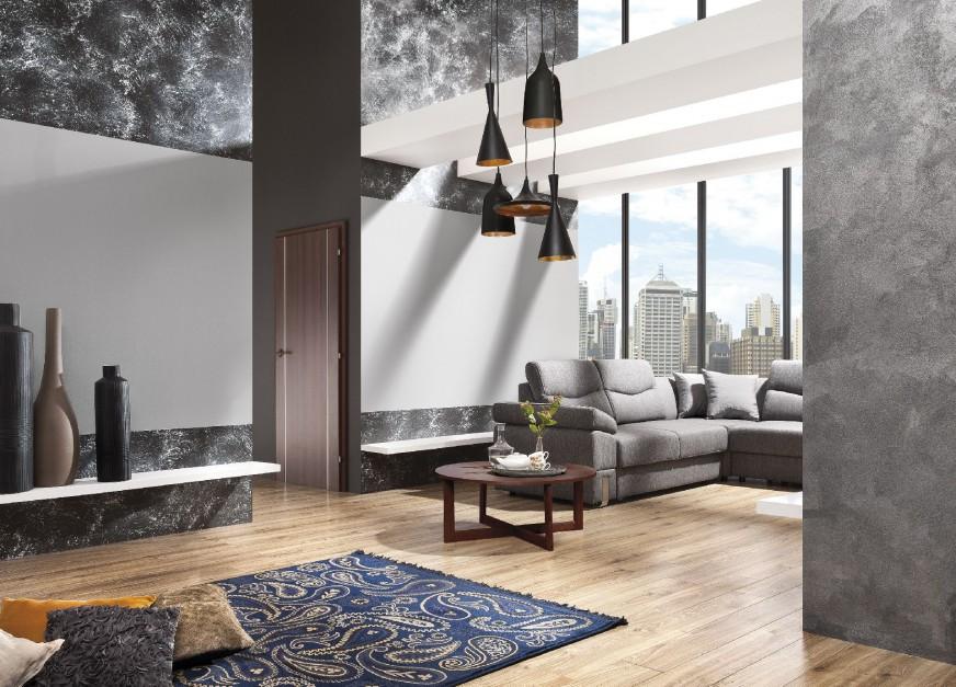 Ciemne i jasne szarości o zróżnicowanych strukturach pozwolą wykreować bardzo nowoczesne, a przy tym niezwykle eleganckie wnętrze. Fot. Magnat.