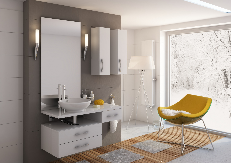 Zestaw białych mebli Flores firmy  Aquaform w nowoczesnej stylistyce z delikatnym, cienkim blatem. Fot. Aquaform.