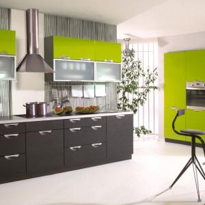 Ciemnoszare dolne szafki kuchenne efektownie kontrastują z jaskrawozieloną zabudową kuchenną i podwieszanymi szafkami. Mocny kolor tonuje spokojna szarość. Fot. Stolkar, kuchnia Emilia.