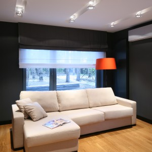 Umieszczenie halogenów w trzech rzędach umożliwiło optymalne doświetlenie salonu. Projekt: Katarzyna Kiełek. Fot. Bartosz Jarosz.