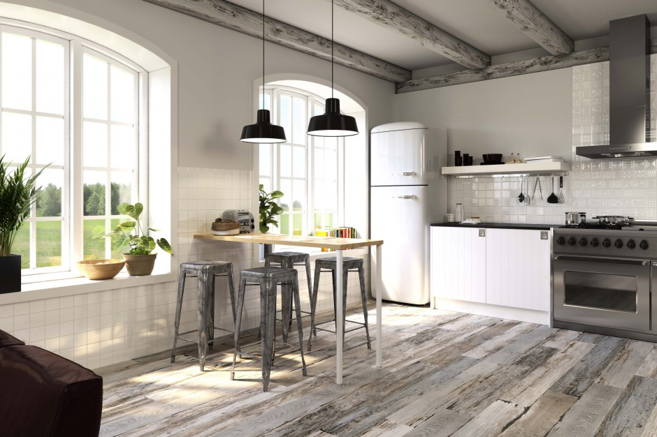 Porcelanowe, Płytki drewnopodobne Sposób na podłogę w kuchni i jadalni