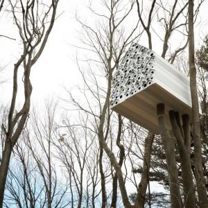 Z jednej strony znajdziemy miejsce dla ptaków, druga strona posiada wejście dla jednej osoby, która może obserwować gniazda ptaków z wnętrza domku na drzewie. Fot. Nendo.