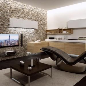Kamieniem Barcelona Sahara marki Stone Master można wyłożyć np. ścianę telewizyjną. Fot. Stone Master.