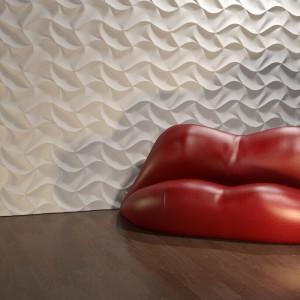 Dekoracja ściany trójwymiarowymi panelami Origami wpłynie na postrzeganie przestronności pomieszczenia i nada mu unikalny wygląd. Fot. Dunes Panele Dekoracyjne.