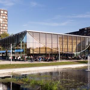 Czerwony dąb ociepla surową architekturę Uniwersytetu Erazma w Rotterdamie