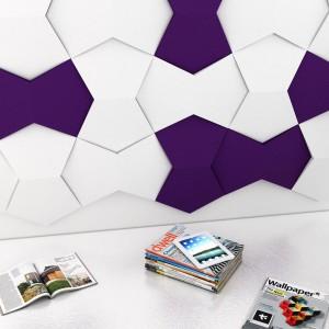 Ściana wyłożona miękkimi panelami w dwóch kolorach stanowi trójwymiarową dekorację nowoczesnego salonu. Fot. Fluffo.
