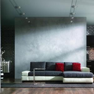 Tynk mineralny Magnat Style Beton. Nawiązuje do naturalnego, surowego betonu lub w zależności od techniki aplikacji pozwala uzyskać efekt: deskowania, stalowej formy, gładki czy lity z charakterystycznymi wżerami i ubytkami. Fot. Magnat.