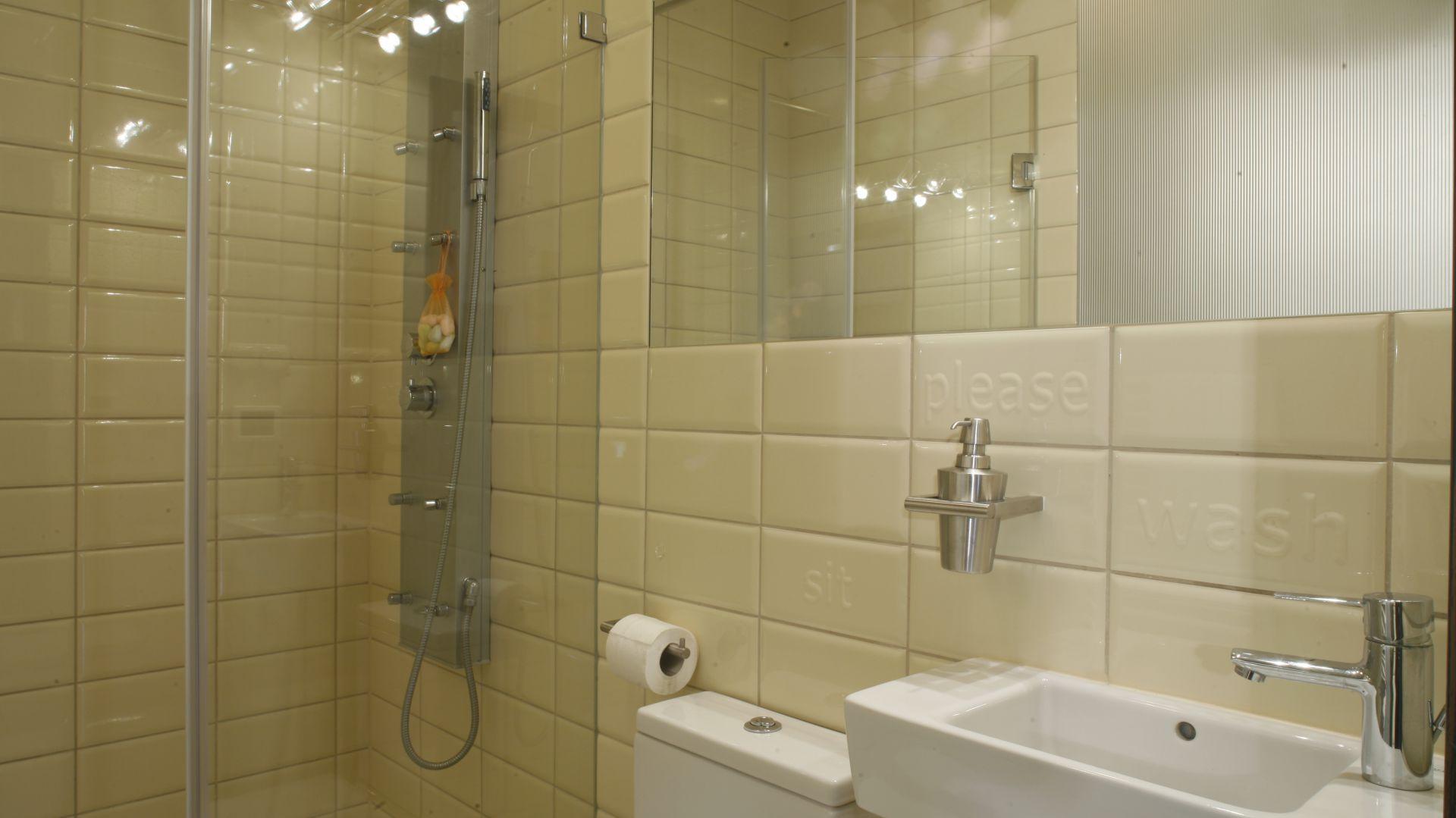 Tylko 3 m kwadratowe powierzchni ma ta łazienka z obszerną wnęką prysznicową. Aby była wygodna wybrani specjalne model ceramiki sanitarnej przeznaczone do małych łazienek. Projekt: Katarzyna Merta-Korzniakow. Fot. Monika Filipiuk Obałek.
