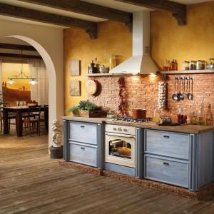 Prowansalska kuchnia ze stylizowanym sprzętem AGD w klasycznym stylu. Kremowy okap i piekarnik idealnie komponują się ze stylizowanymi meblami i drewnianym blatem. Fot. Gorenje.