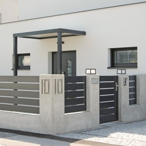 Ogrodzenie Triest to  nowoczesny model wykonany z aluminium. Istnieje możliwość wyboru dowolnej kolorystyki z palety RAL oraz wymiarów. Fot. AluDom.