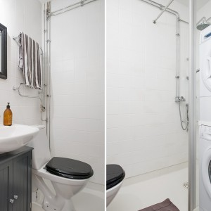 Łazienka jest niewielka ale jej przestrzeń została ekonomicznie zagospodarowana. Czarno-biała kolorystyka wnętrza nadaje małemu metrażowi, eleganckiego wyrazu. Fot. Alvhem Makleri & Interior / Fredrik J Karlsson, SE360.