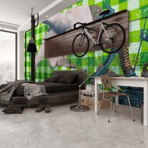 Cegła na ścianie z kolorowym graffiti? To bardzo młodzieżowy motyw na fototapetę. Fot. Minka.pl.