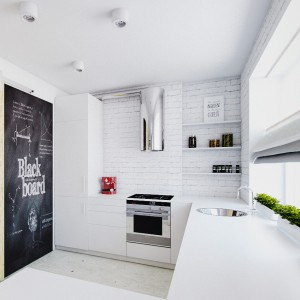 Projekt kuchni, w której króluje biel i prostota - zupełnie jak w najpiękniej urządzonym wnętrzu prosto ze Skandynawii. Białe fronty mebli kuchennych, biały blat oraz kolorystycznie dopasowana ściana nad blatem, wykończona pomalowaną na biało cegłą rozświetlają wnętrze, nadając mu chłodnej elegancji. Chłód wnętrza przełamuje surowa płyta MDF. Projekt: Vstok Design. Fot. Vstok Design.
