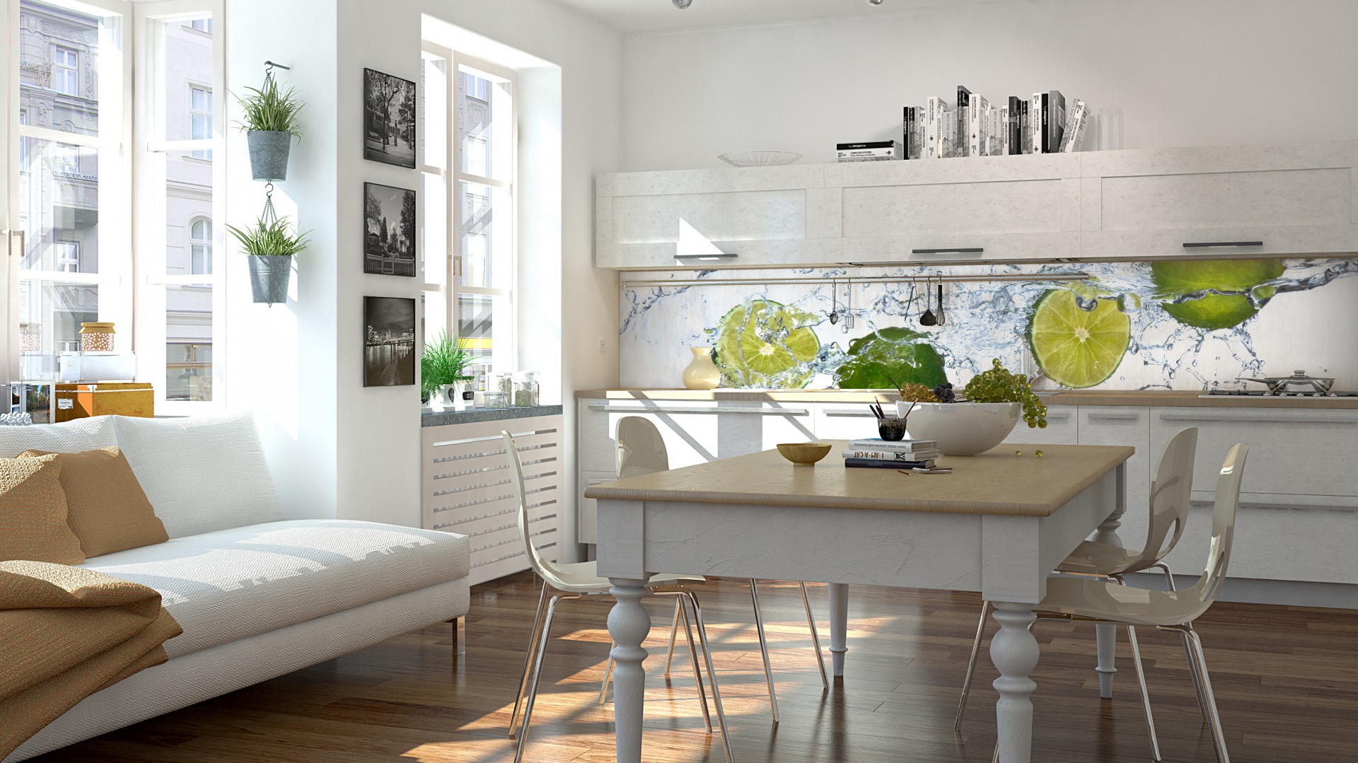 Soczyste limonki ożywiają białą aranżację kuchni otwartej na jadalnię i salon w jasnych barwach. Wyeksponowane na tle białych mebli, komponują się kolorystycznie z roślinami na ścianach i parapecie. Fot. Livingstone.pl.
