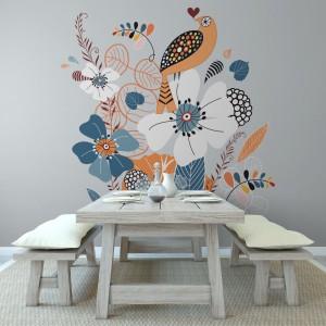 Dekoracyjną tapetą można ozdobić całą jadalnię lub jedynie fragment ściany, np. przy stole. Fot. Minka.