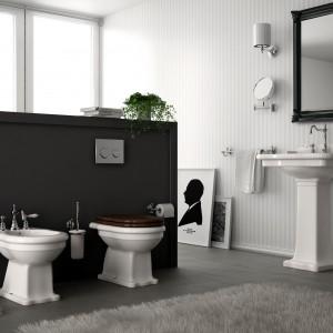 Elliade Hidra to seria ceramiki sanitarnej. Zarówno umywalka, sedes oraz bidet to modele  w wersji stojącej o klasycznej formie. Charakterystyczne dekoracyjnie rzeźbione krawędzie akcentują stylistykę retro. Fot. Hidra.