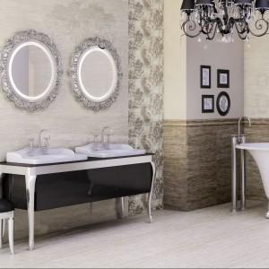 Płytki z kwiatowymi motywami Traverhome z oferty Ceramstic to eleganckie tło łazienki stylizowanej na retro. Fot. Ceramstic.