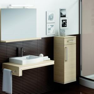 Ancona firmy Aquaform: lustro z półką i oświetleniem to element kolekcji mebli łazienkowych  w kolorze legno ciemne; można kompletować z konsola podumywalkową, szafką wiszącą z szufladami oraz wysokim słupkiem; szerokość 120 i 90 cm. Fot. Aquaform.