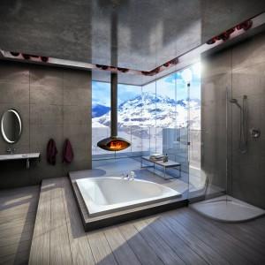 Nic tak nie ogrzewa zimą jak kominek. W aranżacji łazienki z wyposażeniem z serii Bumerang firmy Vayer kominek podkreśla styl i klimat wnętrza oraz formę wyposażenia. Fot. Vayer.