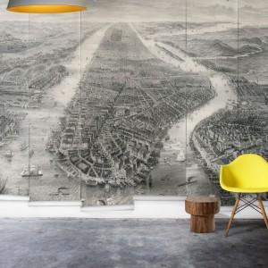 Tapeta Millton&King stworzona na bazie zdjęcia starego Manhattanu, stylizowana na starą fotografię. Fot. Millton&King.