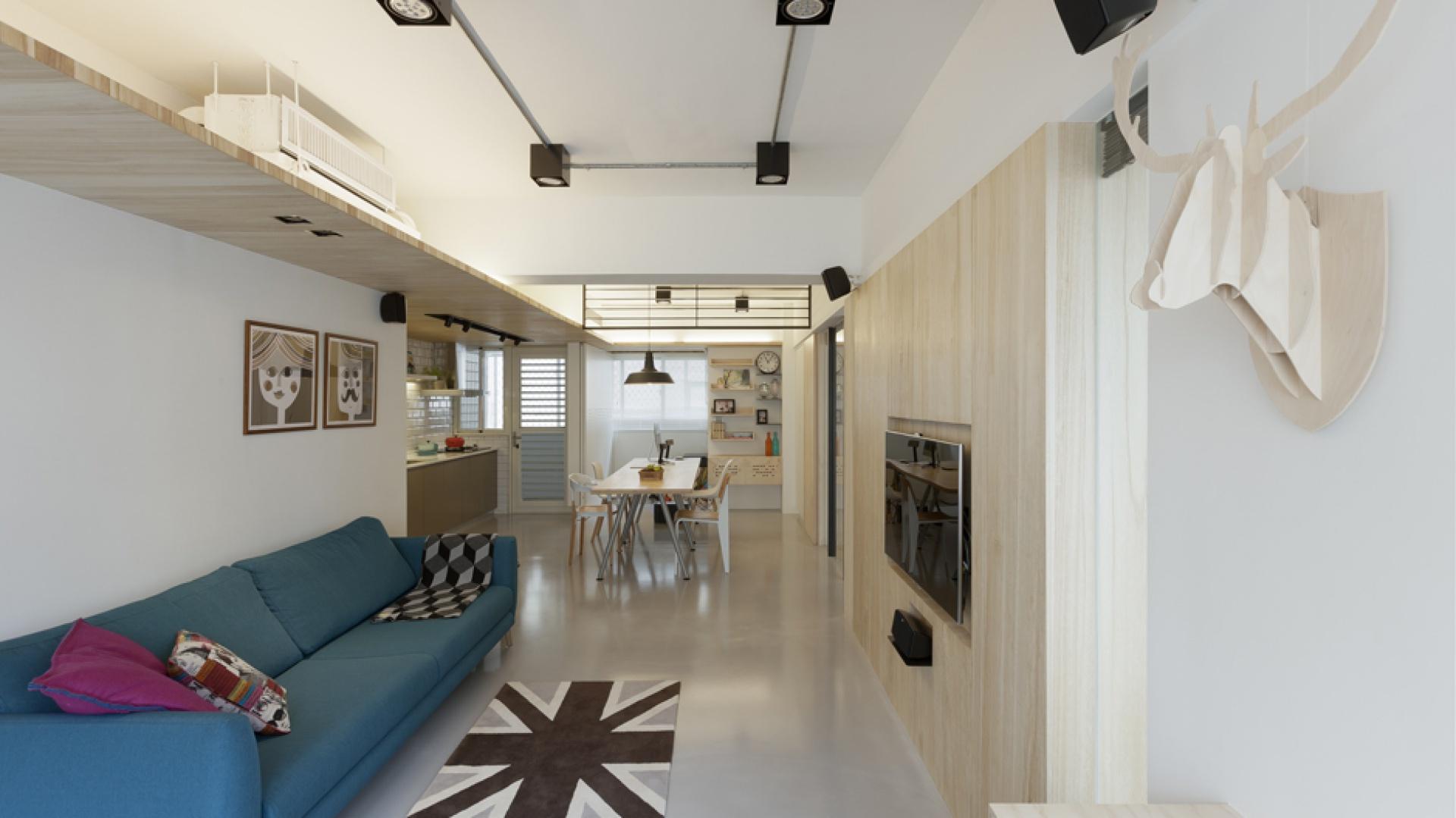 Mieszkanie urządzono w stylu, nawiązującym do estetyki wnętrz charakterystycznych dla północy Europy. Jest zatem dużo biel i drewna. Projekt: KC Design Studio. Fot. KC Design Studio.