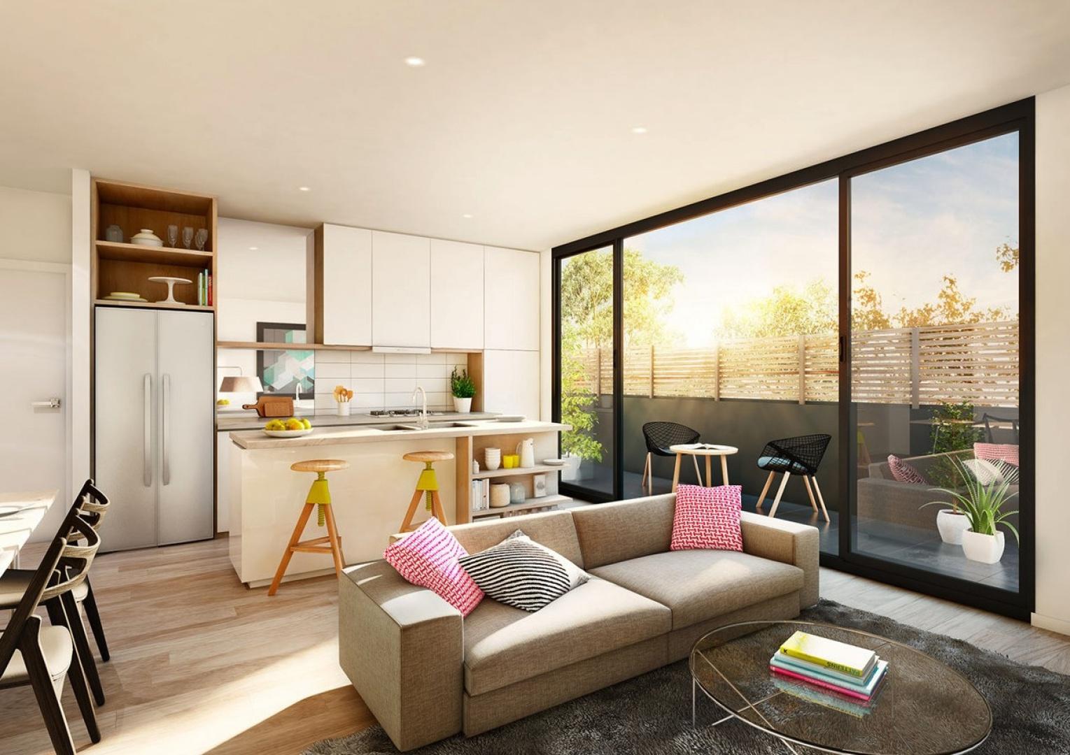 W mieszkaniu o małym metrażu najlepiej sprawdzi się lekka, przestronna aranżacja. Należy pamiętać aby meble nie obciążały niewielkiej przestrzeni. Warto wybrać więc te, o  prostej formie, które nadadzą pomieszczeniom funkcjonalny charakter. Fot. Lushviz.