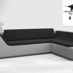 Modna sofa narożna o ultranowoczesnej formie. Oryginalny kształt mebla podkreśla czarne obicie siedziska. Fot. Darwins Home.