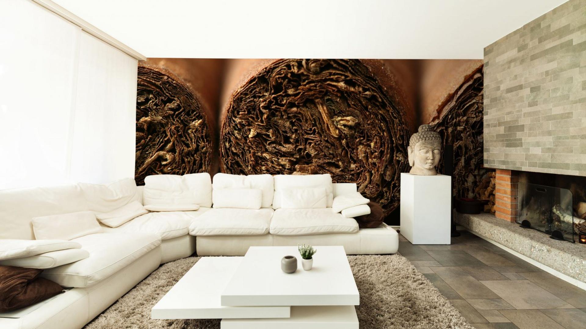 Fototapeta z cygarami marki Minka.pl nada nowoczesnemu wnętrzu cieplejszy wygląd. Propozycja może przypaść do gustu nawet przeciwnikom tytoniowej używki. Fot. Minka.
